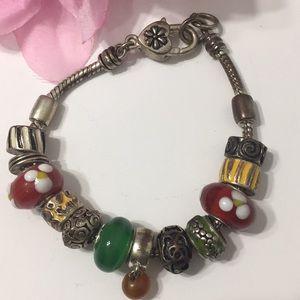 Multi Colored Bead Charm Bracelet